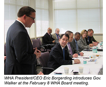 Eric Borgerding introduces Gov. Walker at WHA Board Meeting